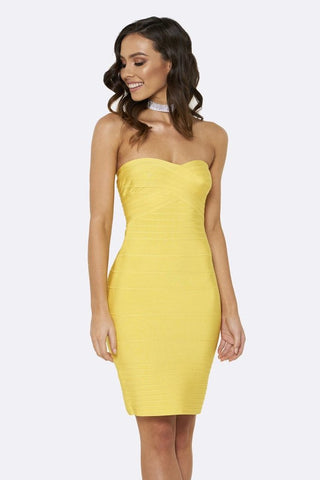 Honey Couture ESTELLE Yellow Strapless Bandage Dress Honey Couture One Honey Boutique AfterPay ZipPay OxiPay Laybuy Sezzle Free Shipping