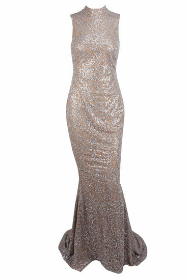 Honey Couture AMELIE Silver & Nude Glitter Mermaid Formal Gown DressHoney CoutureOne Honey Boutique AfterPay OxiPay ZipPay