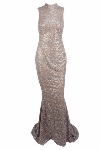 Honey Couture AMELIE Silver & Nude Glitter Mermaid Formal Gown Dress Honey Couture One Honey Boutique AfterPay ZipPay OxiPay Sezzle Free Shipping
