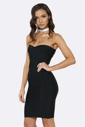 Honey Couture ESTELLE Black Strapless Mini Length Bandage DressHoney CoutureOne Honey Boutique AfterPay OxiPay ZipPay