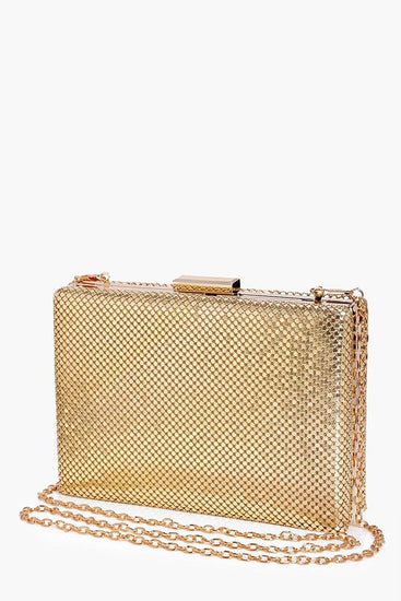 Honey Couture MISHA Gold Chainmail Box Clutch BagOne Honey BoutiqueOne Honey Boutique AfterPay OxiPay ZipPay