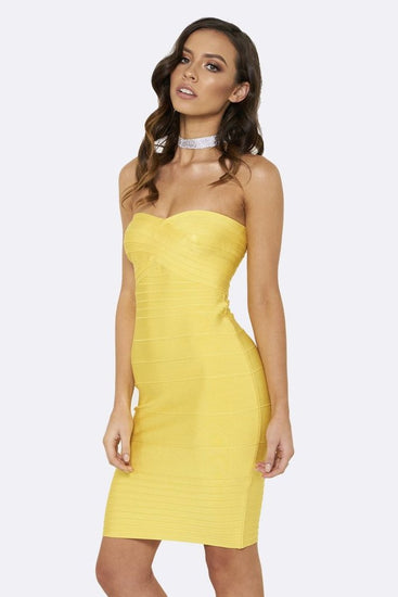 Honey Couture ESTELLE Yellow Strapless Bandage DressHoney CoutureOne Honey Boutique AfterPay OxiPay ZipPay