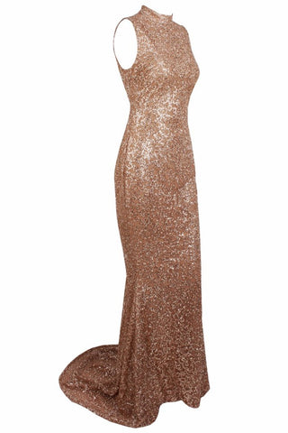 Honey Couture AMELIE Gold & Nude Glitter Mermaid Formal Gown Dress Honey Couture One Honey Boutique AfterPay ZipPay OxiPay Sezzle Free Shipping