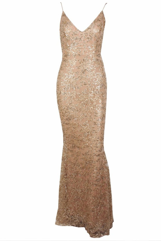 Honey Couture GRETA Gold Lace & Glitter Overlay Mermaid Formal Gown Dress Honey Couture$ AfterPay Humm ZipPay LayBuy Sezzle