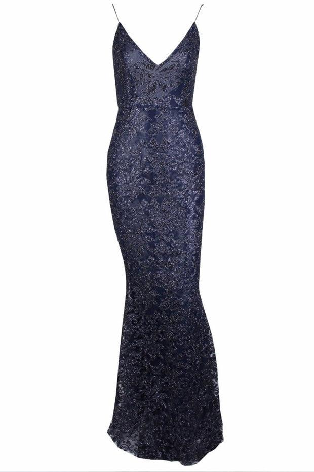 Honey Couture GRETA Blue Lace & Glitter Overlay Mermaid Formal Gown Dress Honey Couture$ AfterPay Humm ZipPay LayBuy Sezzle