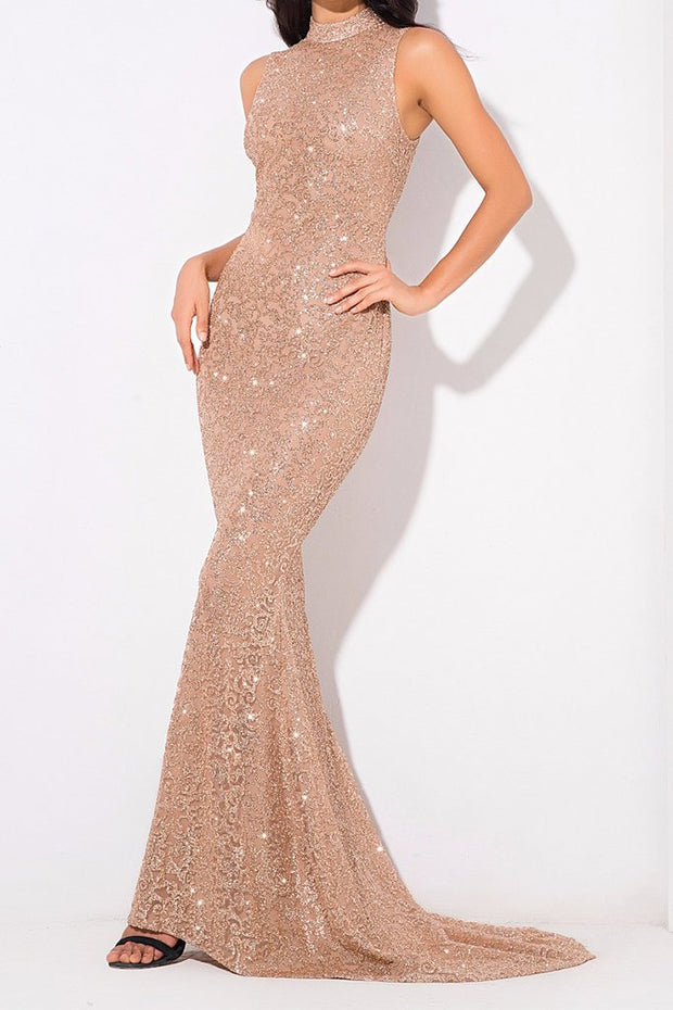 Honey Couture AMELIE Gold & Nude Glitter Mermaid Formal Gown Dress Honey Couture$ AfterPay Humm ZipPay LayBuy Sezzle