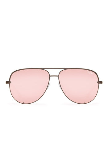 Quay Australia x Desi Perkins GUNMETAL & ROSE GOLD Mirror High Key Designer Sunglasses