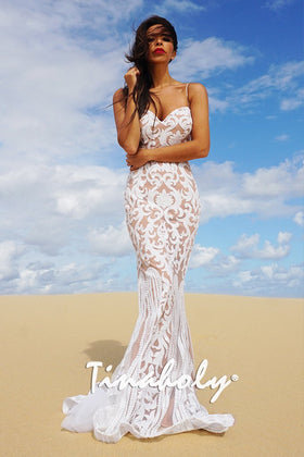 Tinaholy Couture T17101 White Nude Sequin Thin Strap GownTinaholy CoutureOne Honey Boutique AfterPay OxiPay ZipPay