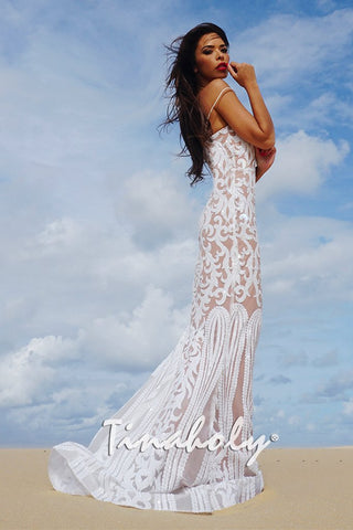 Tinaholy Couture T17101 White Nude Sequin Thin Strap Gown Tinaholy Couture One Honey Boutique AfterPay ZipPay OxiPay Laybuy Sezzle Free Shipping