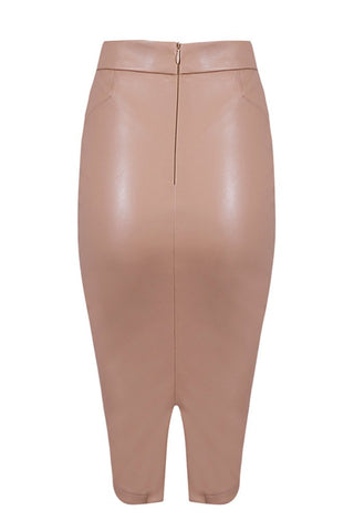 Honey Couture JANINE Vegan Leather Beige Pencil Skirt Honey Couture One Honey Boutique AfterPay ZipPay OxiPay Sezzle Free Shipping