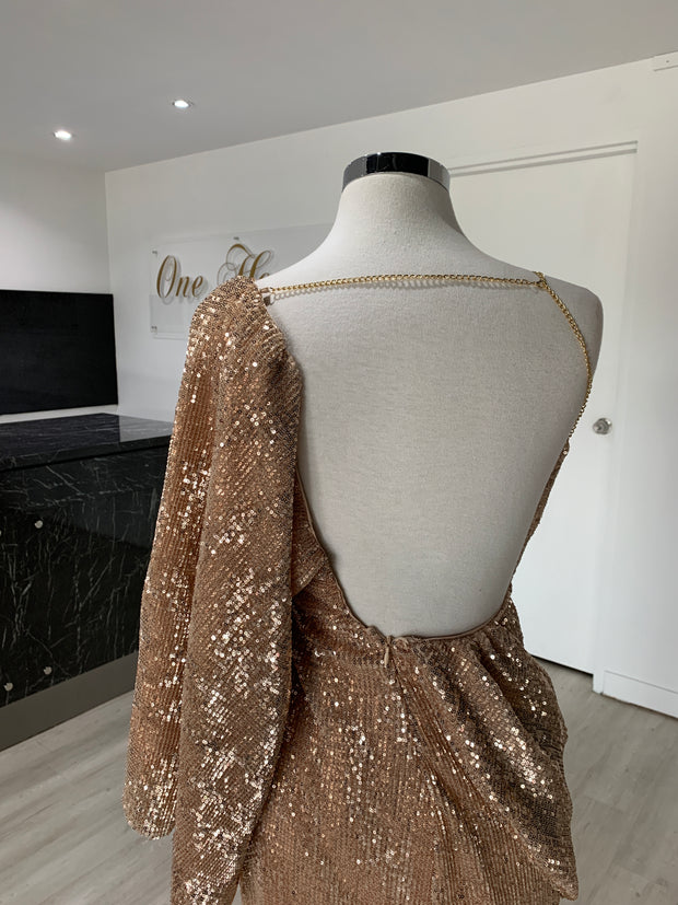 Honey Couture SHAKIRA Rose Gold One Sleeve Sequin Formal Dress {vendor} AfterPay Humm ZipPay LayBuy Sezzle