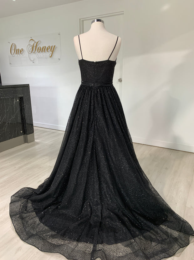 Honey Couture AVA Black Glitter Sparkle Ball Gown Formal Dress {vendor} AfterPay Humm ZipPay LayBuy Sezzle