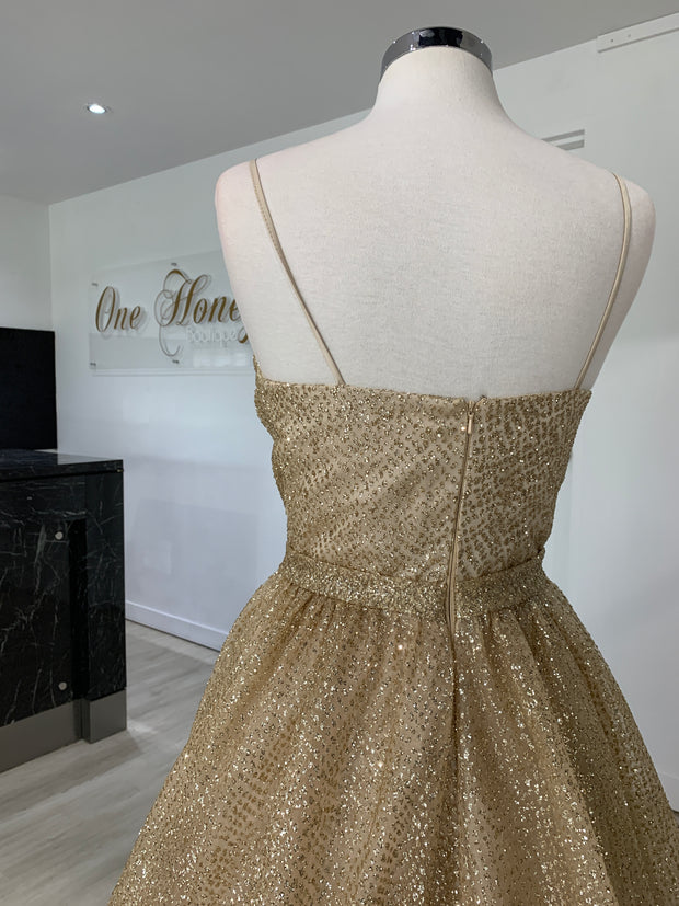 Honey Couture AVA Gold Glitter Sparkle Ball Gown Formal Dress {vendor} AfterPay Humm ZipPay LayBuy Sezzle