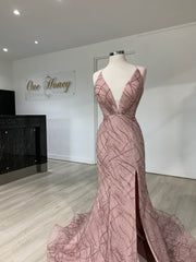 Tina Holly Couture Designer TW001 Tea Rose Pink Mermaid Formal Dress {vendor} AfterPay Humm ZipPay LayBuy Sezzle