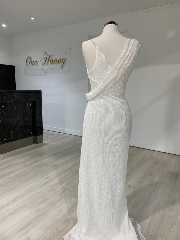 Honey Couture SHANIKA White One Sleeve Sequin Formal Dress {vendor} AfterPay Humm ZipPay LayBuy Sezzle