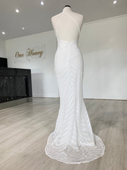 Honey Couture HEIDY White Sequin Mermaid Formal Dress {vendor} AfterPay Humm ZipPay LayBuy Sezzle