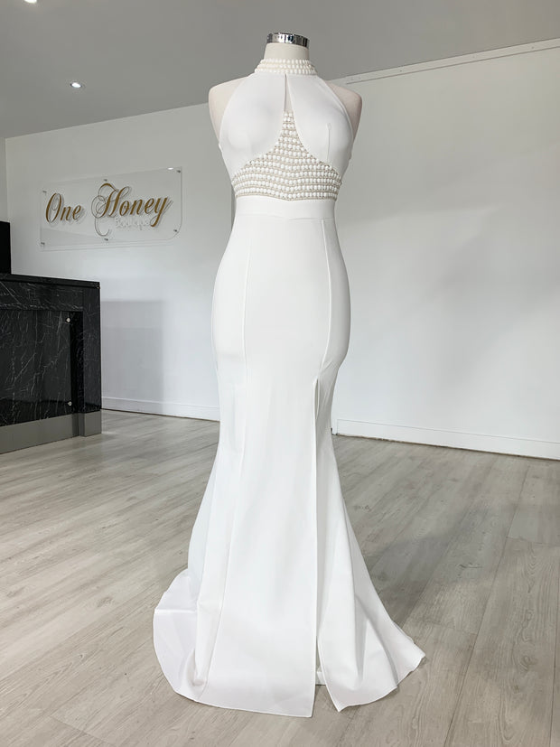 Honey Couture VALERIA White Beaded Halter Formal Gown {vendor} AfterPay Humm ZipPay LayBuy Sezzle