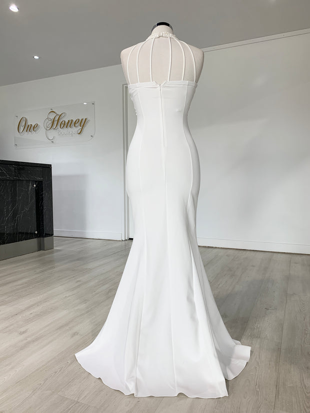 Honey Couture VALERIA White Beaded Halter Formal Gown
