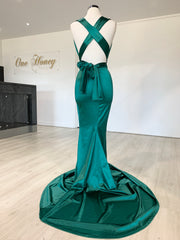 Honey Couture BLOSSUM Green Multi Tie Evening Gown Dress