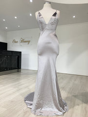 Honey Couture MILEE Silver Grey Low Back Mermaid Evening Gown Dress {vendor} AfterPay Humm ZipPay LayBuy Sezzle