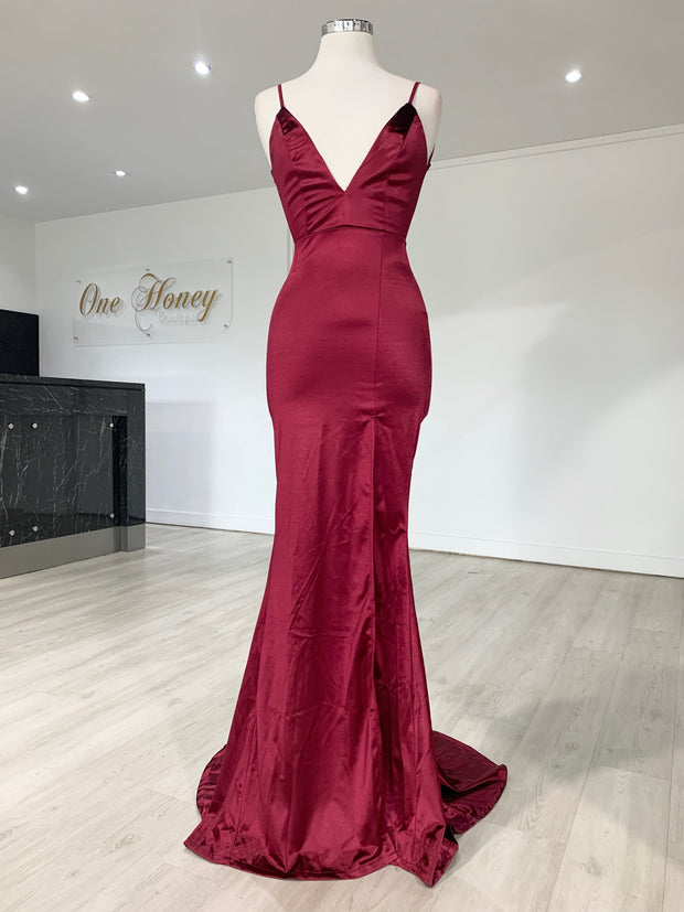 Honey Couture MILEE Berry Split Low Back Mermaid Evening Gown Dress {vendor} AfterPay Humm ZipPay LayBuy Sezzle