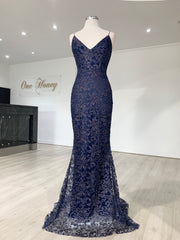 Honey Couture GRETA Blue Lace & Glitter Overlay Mermaid Formal Gown Dress {vendor} AfterPay Humm ZipPay LayBuy Sezzle
