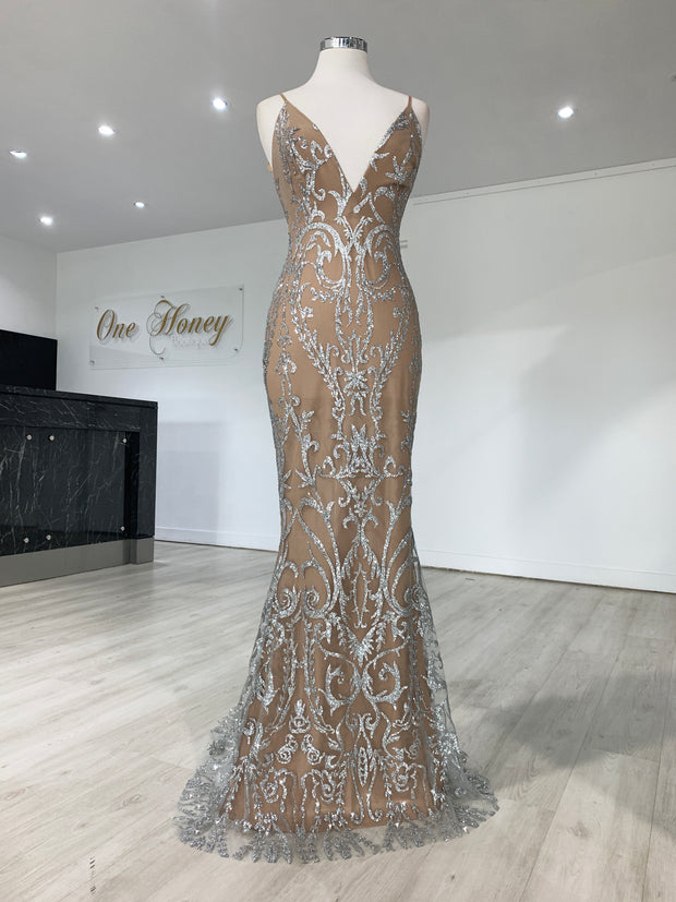 Honey Couture CLARISSA Silver/Nude Glitter Overlay Mermaid Formal Gown Dress {vendor} AfterPay Humm ZipPay LayBuy Sezzle