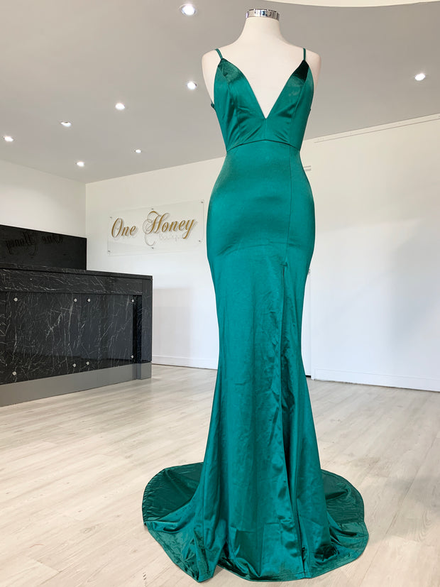 Honey Couture MILEE Emerald Green Split Low Back Mermaid Evening Gown Dress {vendor} AfterPay Humm ZipPay LayBuy Sezzle