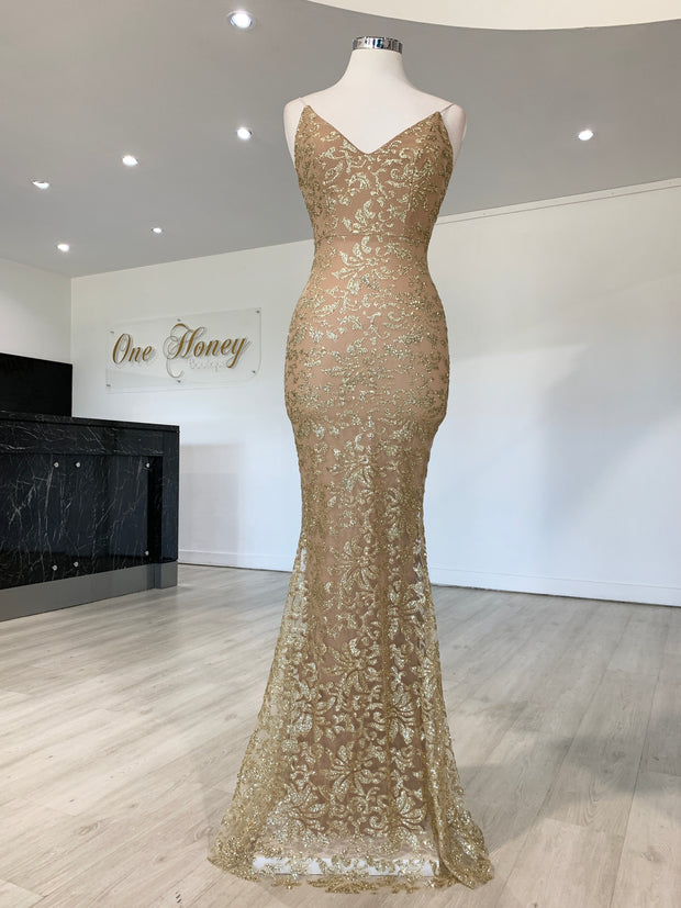 Honey Couture GRETA Gold Lace & Glitter Overlay Mermaid Formal Gown Dress {vendor} AfterPay Humm ZipPay LayBuy Sezzle