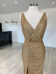 Honey Couture BEYONCE Gold Glitter Split Front Formal Dress {vendor} AfterPay Humm ZipPay LayBuy Sezzle