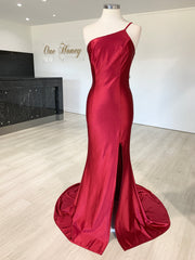 Honey Couture ANNABELL Burgundy One Shoulder Mermaid Evening Gown Dress {vendor} AfterPay Humm ZipPay LayBuy Sezzle