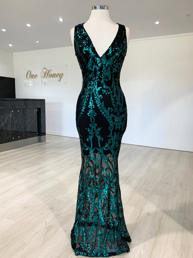Honey Couture TEMPEST Green & Black Sequin Evening Gown Dress {vendor} AfterPay Humm ZipPay LayBuy Sezzle