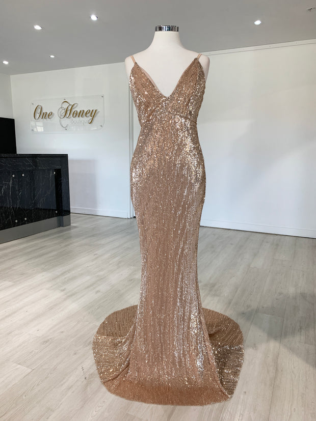 Honey Couture ROSALIE Champagne Gold Low Back Sequin Formal Gown Dress {vendor} AfterPay Humm ZipPay LayBuy Sezzle