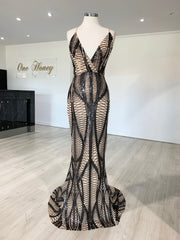 Honey Couture ALIZA Black Nude Sequin Mermaid Formal Dress {vendor} AfterPay Humm ZipPay LayBuy Sezzle