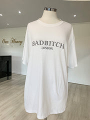 White BAD B LONDON Oversized T Shirt Dress {vendor} AfterPay Humm ZipPay LayBuy Sezzle