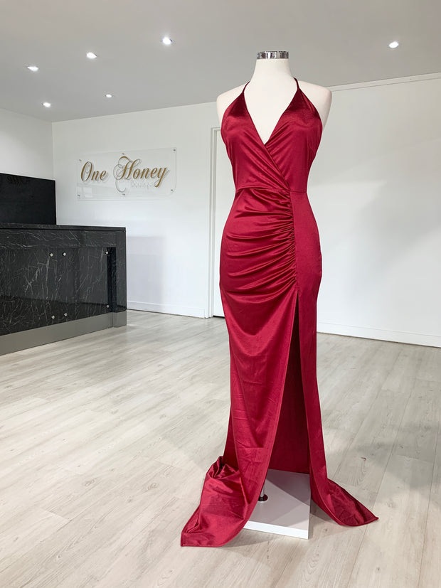 Honey Couture GISSELLE Berry Split Evening Gown Dress {vendor} AfterPay Humm ZipPay LayBuy Sezzle