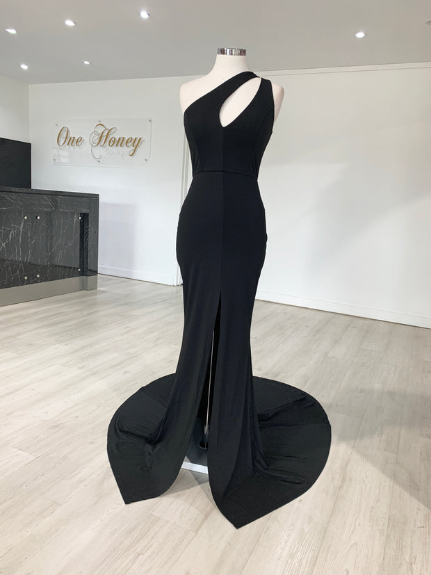 Honey Couture LAYLAH Black One Shoulder Mermaid Formal Dress {vendor} AfterPay Humm ZipPay LayBuy Sezzle