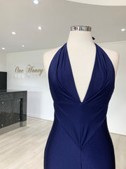 Honey Couture ARIANA Navy Blue Low Back Mermaid Evening Gown Dress {vendor} AfterPay Humm ZipPay LayBuy Sezzle