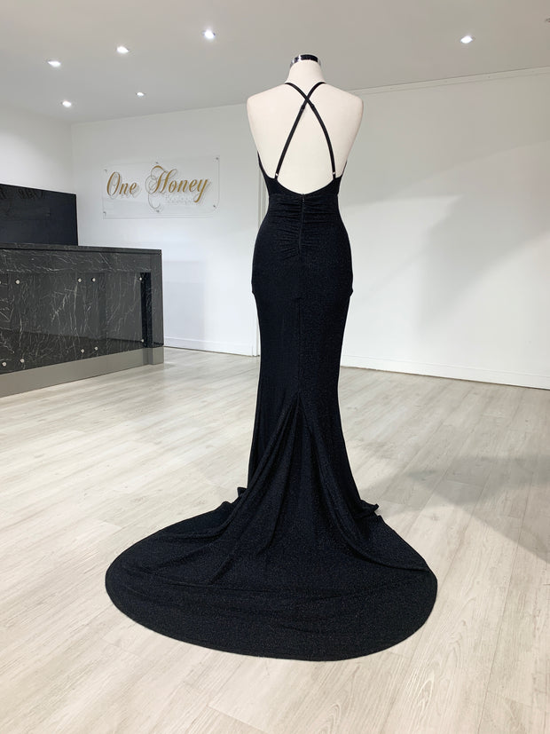 Honey Couture LUREX Black Sparkle Mermaid Evening Gown Dress {vendor} AfterPay Humm ZipPay LayBuy Sezzle