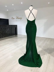 Honey Couture LUREX Emerald Green Sparkle Mermaid Evening Gown Dress {vendor} AfterPay Humm ZipPay LayBuy Sezzle