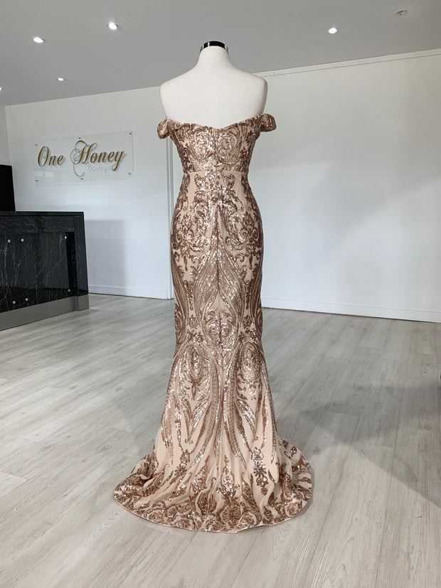Honey Couture ALISSA Gold Off Shoulder Sequin Formal Dress {vendor} AfterPay Humm ZipPay LayBuy Sezzle