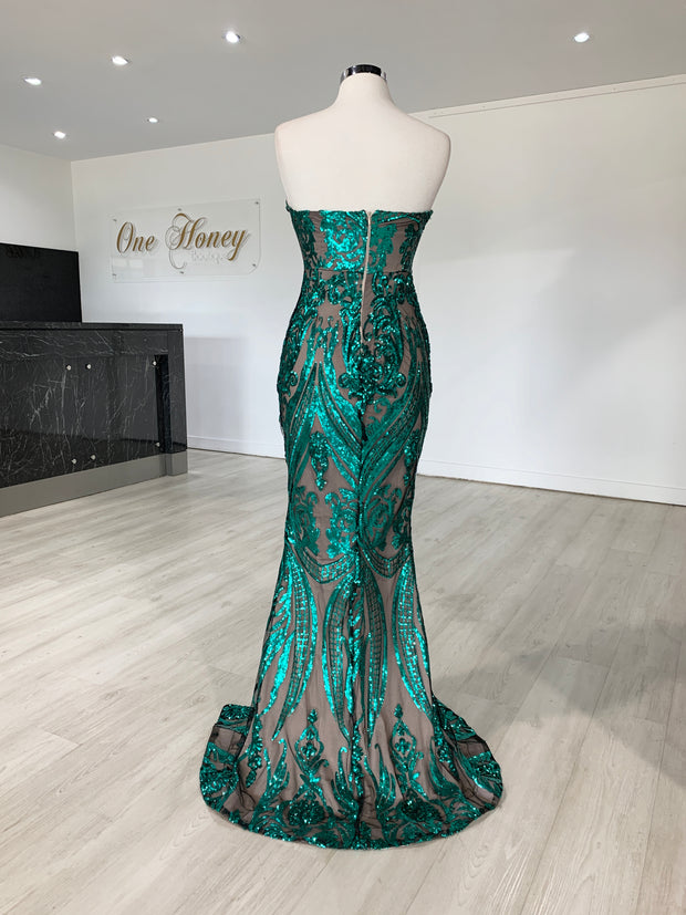 Honey Couture CALI Green Nude Glitter Strapless Evening Gown Dress {vendor} AfterPay Humm ZipPay LayBuy Sezzle