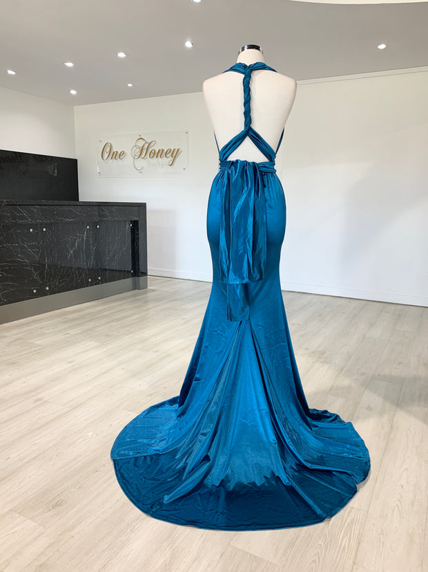 Honey Couture BLOSSUM Blue Multi Tie Evening Gown Dress {vendor} AfterPay Humm ZipPay LayBuy Sezzle