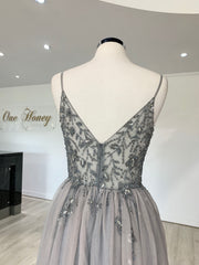 Honey Couture VIOLET Grey Tulle Crystal Beaded Formal Dress {vendor} AfterPay Humm ZipPay LayBuy Sezzle