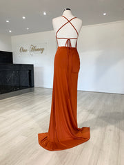 Honey Couture BRITTANY Rust Burnt Orange Low Back Tie Up Formal Gown Dress {vendor} AfterPay Humm ZipPay LayBuy Sezzle