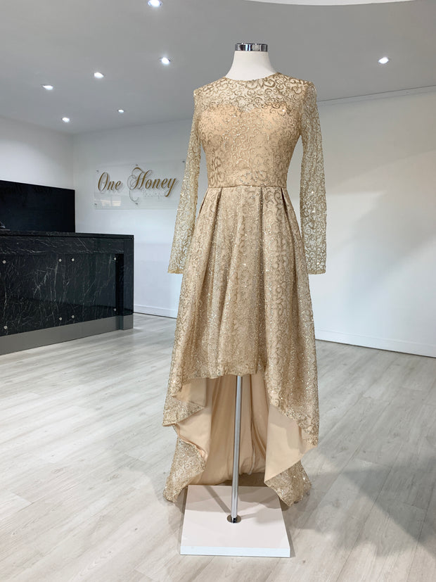 Honey Couture SOPHIA Gold Long Sleeve High Low Formal Dress {vendor} AfterPay Humm ZipPay LayBuy Sezzle