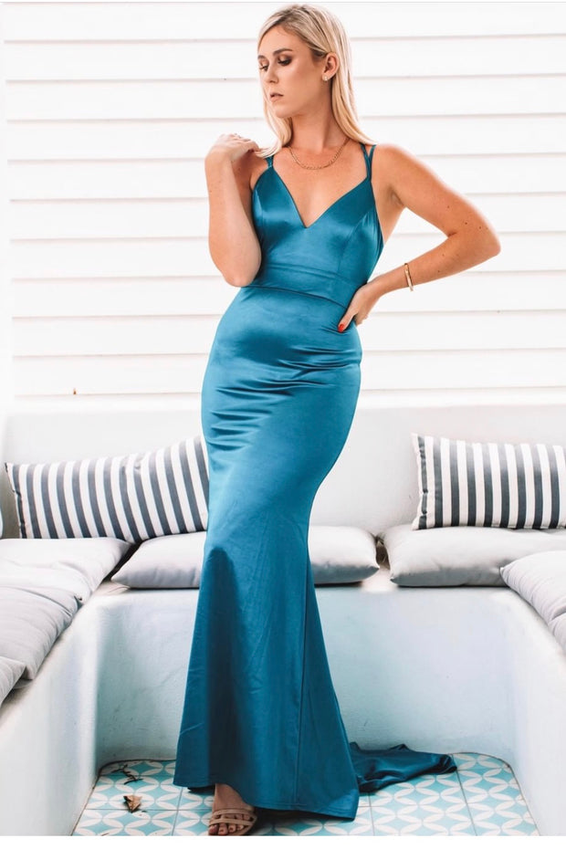 Honey Couture BRAYLEE Blue Tie-up back Evening Dress {vendor} AfterPay Humm ZipPay LayBuy Sezzle