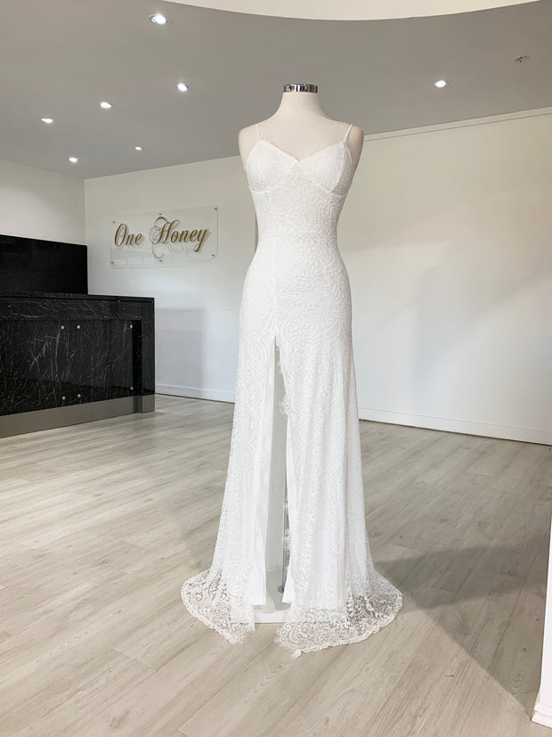 Honey Couture STASSY White Lace Formal Dress {vendor} AfterPay Humm ZipPay LayBuy Sezzle