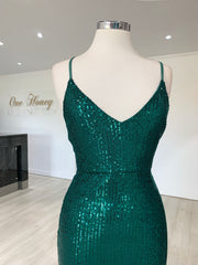 Honey Couture LUZ Emerald Green Lace Up Sequin Formal Gown Dress {vendor} AfterPay Humm ZipPay LayBuy Sezzle