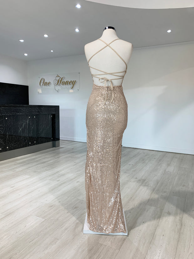 Honey Couture LUZ Champagne Gold Lace Up Sequin Formal Gown Dress {vendor} AfterPay Humm ZipPay LayBuy Sezzle